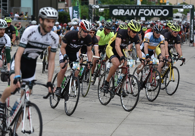 MSU Gran Fondo cyclists start downtown and ride 12, 25, 40 or 80 miles to benefit MSU College of Human Medicine's skin cancer research